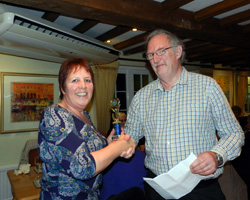 Jeff H giving Lyn an award for exhibiting the least deviation