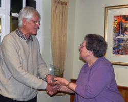 Wyn awarding the Ron Jenkins Memorial Trophy to Tony